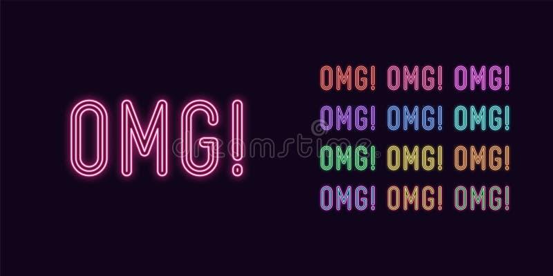 Texte au néon Omg, titre expressif Mot au néon d'OMG illustration de vecteur