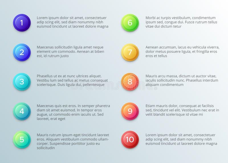 Texte avec des balles de nombre Disposition de pointage du paragraphe Dix avec des boutons de nombre Calibre d'infographics de ve illustration stock