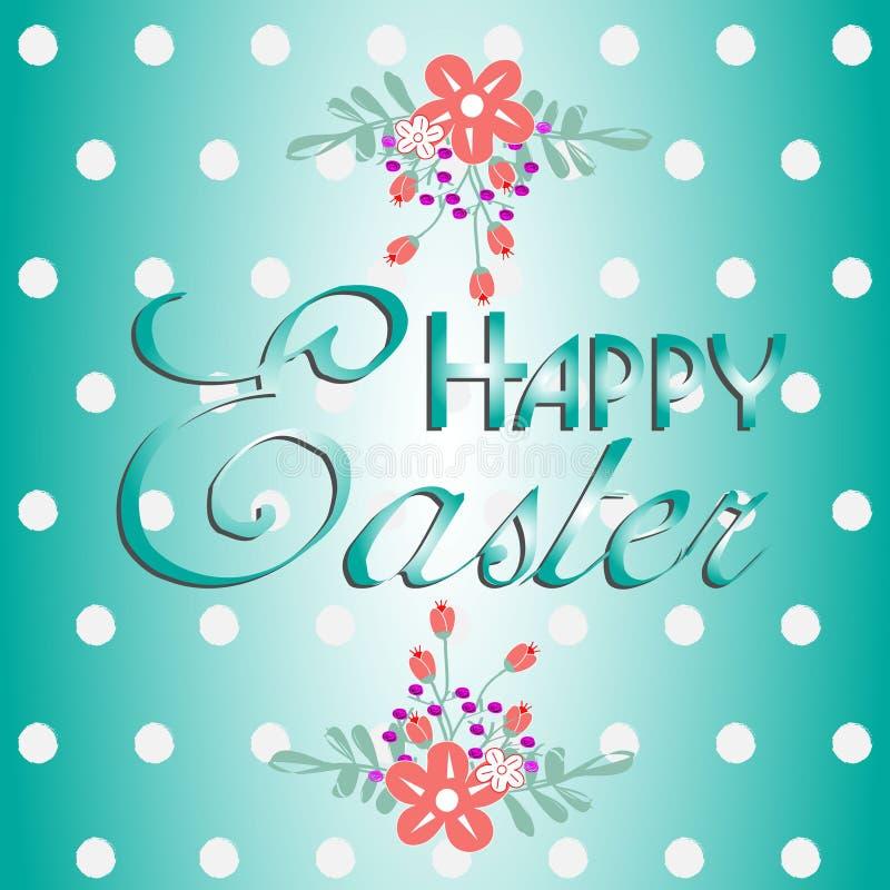 Texte avec des fleurs Joyeuses Pâques illustration de vecteur