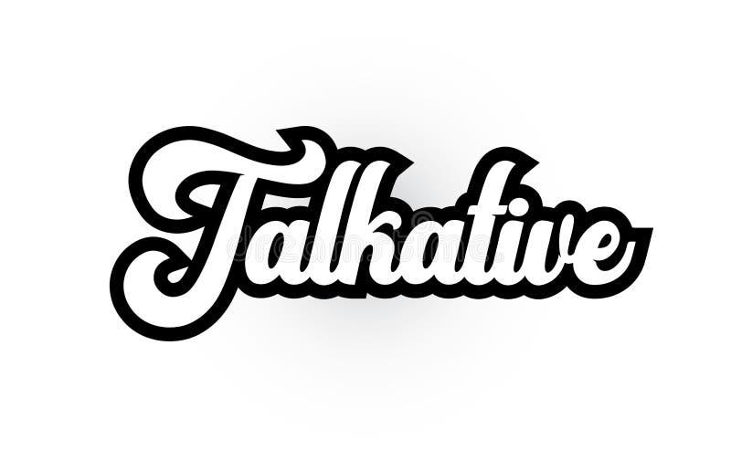 texte bavard noir et blanc de mot écrit de main pour la conception d'icône de logo de typographie illustration libre de droits