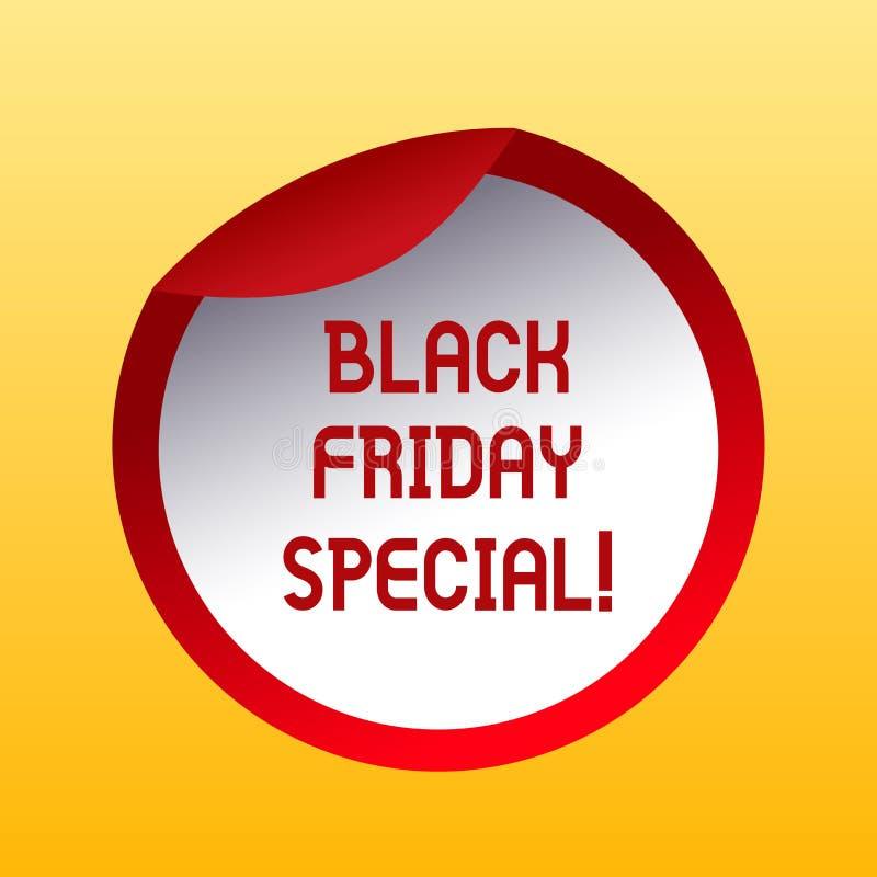 Texte Black Friday d'écriture spécial Concept signifiant le jour après bouteille folle de saison d'achats de vente de thanksgivin illustration stock