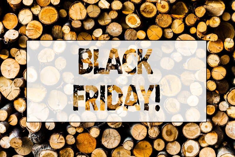 Texte Black Friday d'écriture Ventes spéciales de signification de concept après le dégagement de remises d'achats de thanksgivin images libres de droits