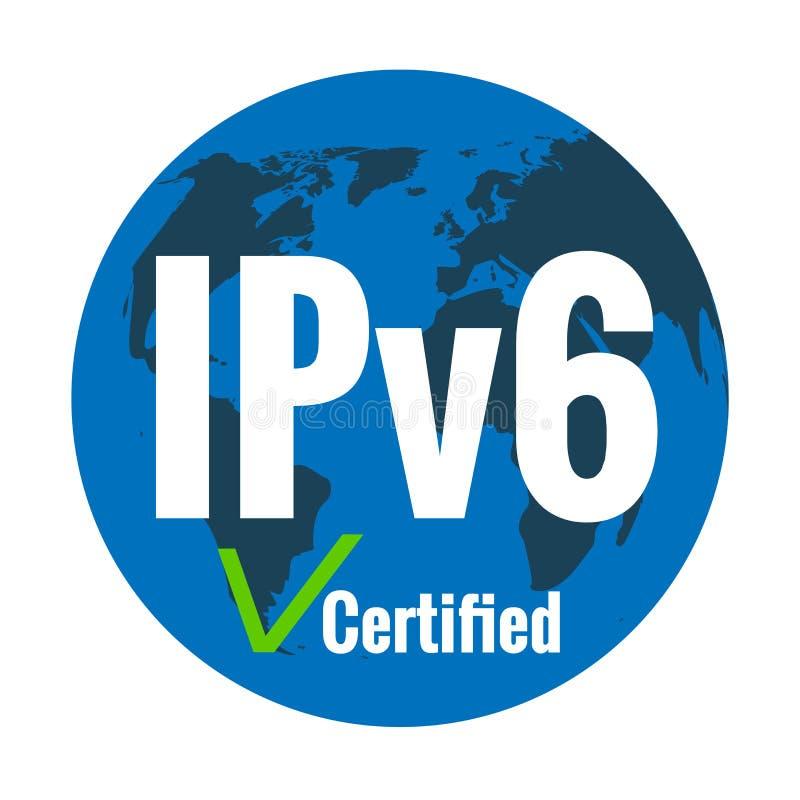 Texte blanc IPv6 certifié sur le fond bleu de la terre de planète Repère de contrôle vert illustration stock