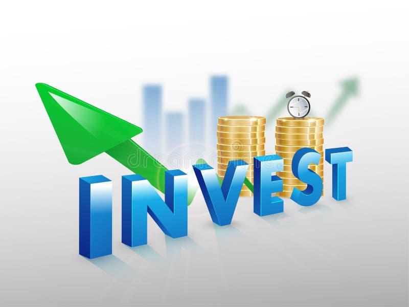 Texte bleu 3D INVESTIR l'argent pièces d'or et croissance financière ou succès infographique sur fond blanc illustration stock