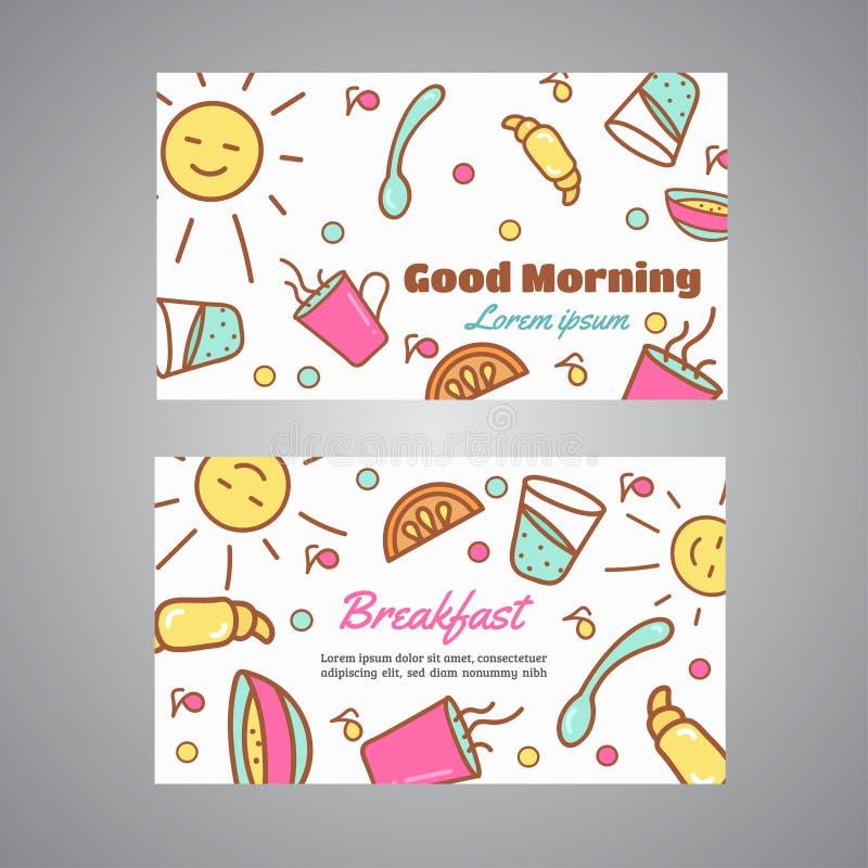 Texte bonjour Slogan de petit déjeuner Café, carte de visite professionnelle de visite de concept de boulangerie Coffeee et vecte illustration de vecteur