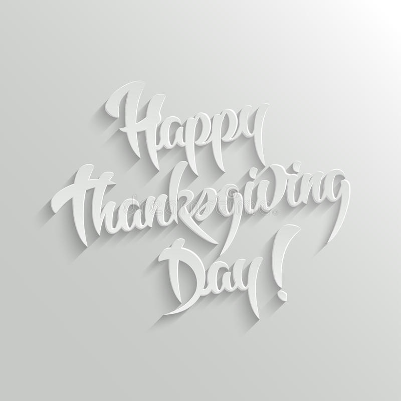 Texte calligraphique heureux du jour 3d de thanksgiving avec l'ombre illustration libre de droits