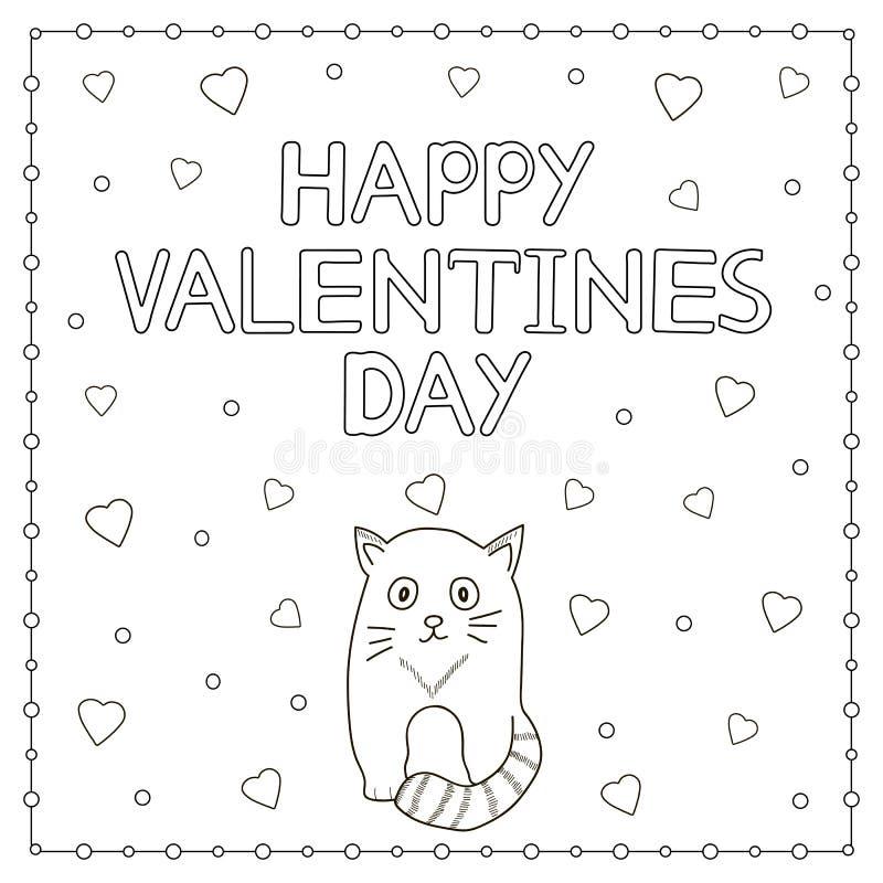 Texte, chat et coeurs tirés par la main heureux de Valentine Day illustration libre de droits