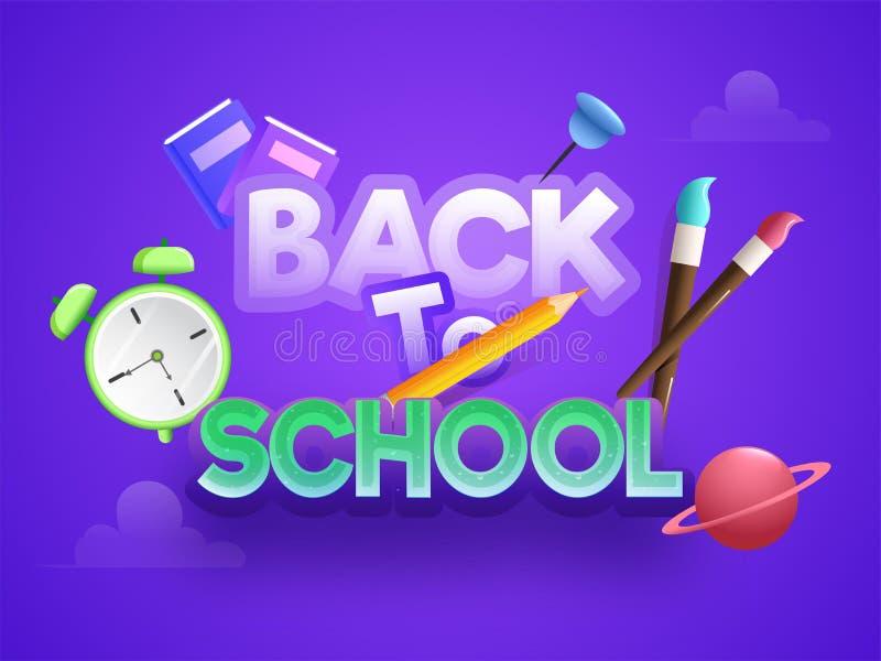 Texte coloré élégant de nouveau à conception d'en-tête ou de bannière d'école illustration stock