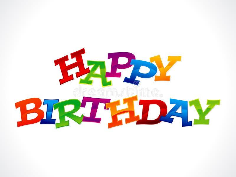 Texte coloré abstrait de joyeux anniversaire illustration libre de droits