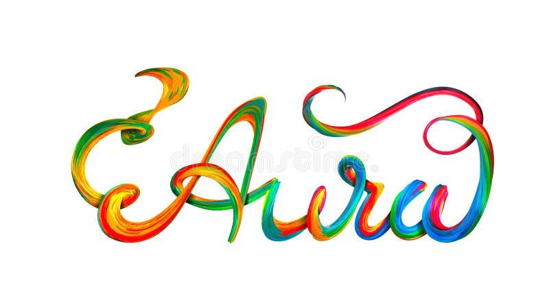 Texte coloré d'aura, conception de lettrage sur le blanc illustration de vecteur