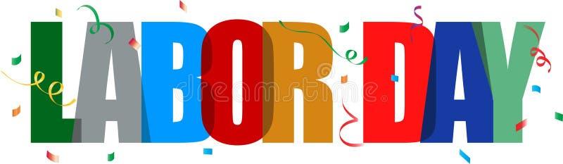 Texte coloré de Fête du travail avec des confettis illustration stock