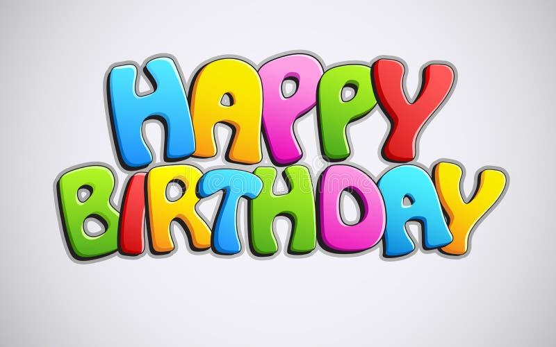 Texte coloré de joyeux anniversaire illustration stock