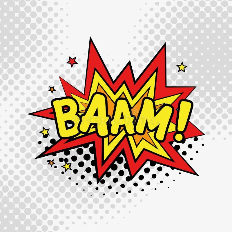 Texte comique, style d'art de bruit BAAM illustration de vecteur