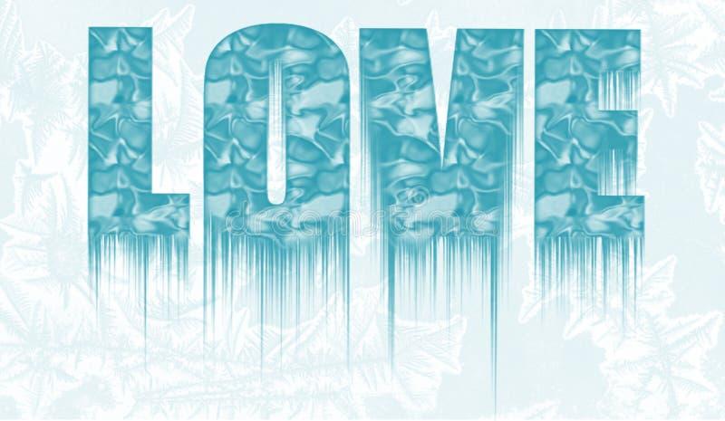 Texte congelé décoratif - amour - avec des glaçons photos stock