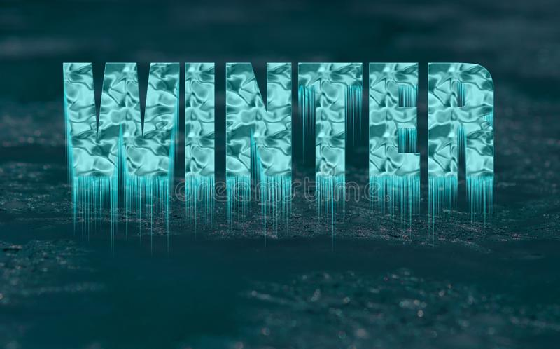 Texte congelé décoratif - hiver - avec des glaçons images stock