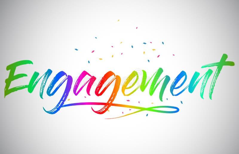 Texte créatif de Vetor Word d'engagement avec des couleurs vibrantes et des confettis d'arc-en-ciel manuscrit illustration libre de droits