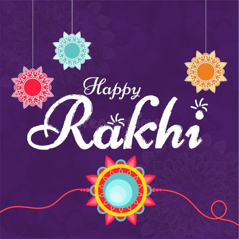 Texte créatif Rakhi heureux sur le fond ornemental pourpre pour le ce illustration de vecteur