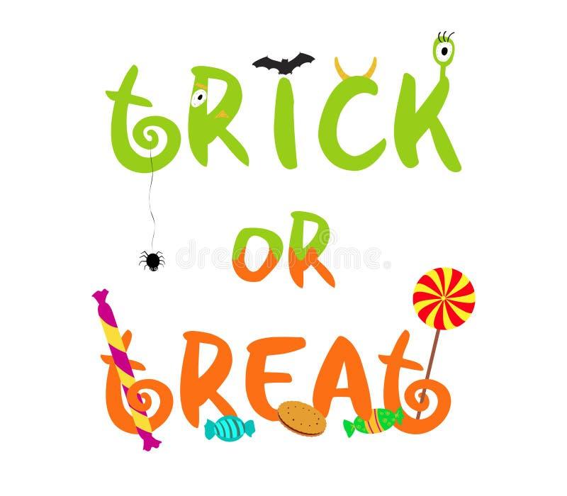 Texte décoratif de Halloween de vecteur de des bonbons ou un sort illustration stock