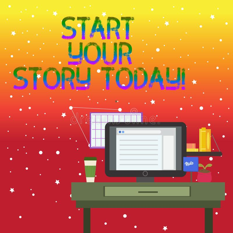Texte d'écriture écrivant à début votre histoire aujourd'hui Concept signifiant le travail dur sur vous-même et commencer de cett illustration libre de droits