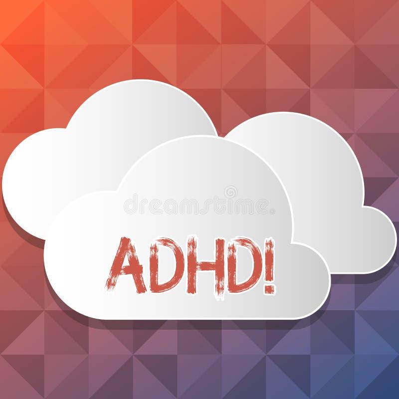 Texte d'écriture écrivant Adhd Étude de signification de concept fait plus facile pour l'enseignement d'enfants pas plus un blanc illustration stock