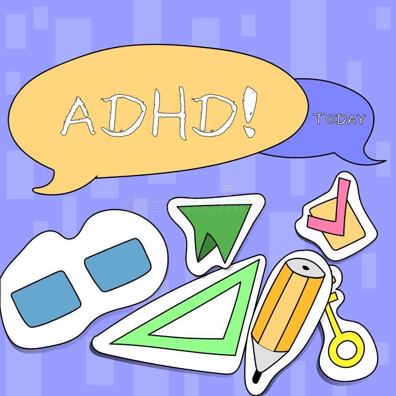 Texte d'écriture écrivant Adhd Étude de signification de concept fait plus facile pour l'enseignement d'enfants pas plus une tâch illustration libre de droits
