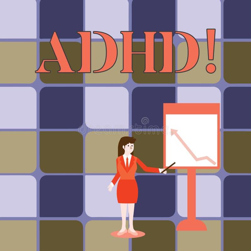 Texte d'écriture écrivant Adhd Étude de signification de concept fait plus facile pour l'enseignement d'enfants pas plus une tâch illustration stock