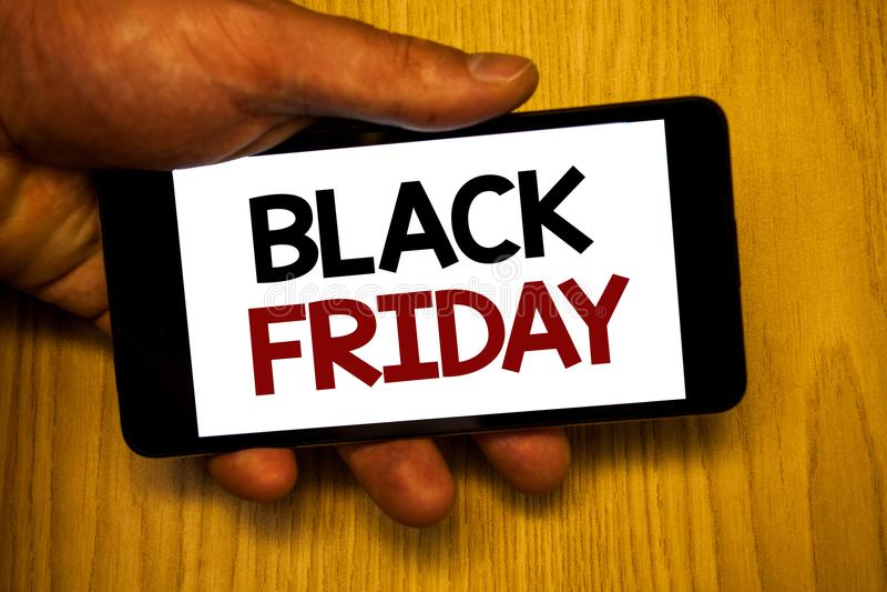 Texte d'écriture écrivant Black Friday Le concept signifiant des ventes spéciales après des achats de thanksgiving escompte le dé photo libre de droits