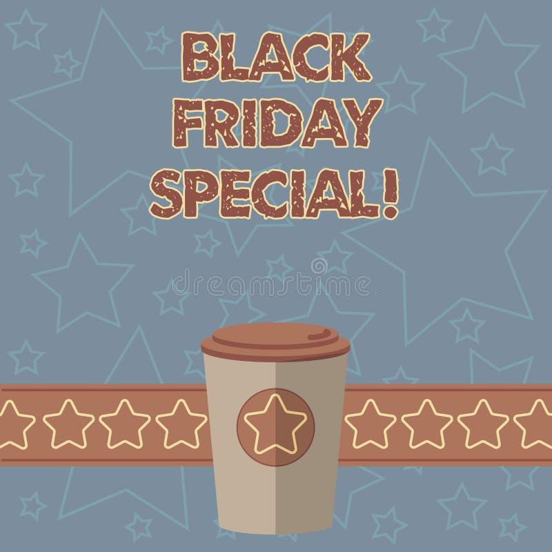Texte d'écriture écrivant Black Friday spécial Concept signifiant le jour après café fou de la saison 3D d'achats de vente de tha illustration stock