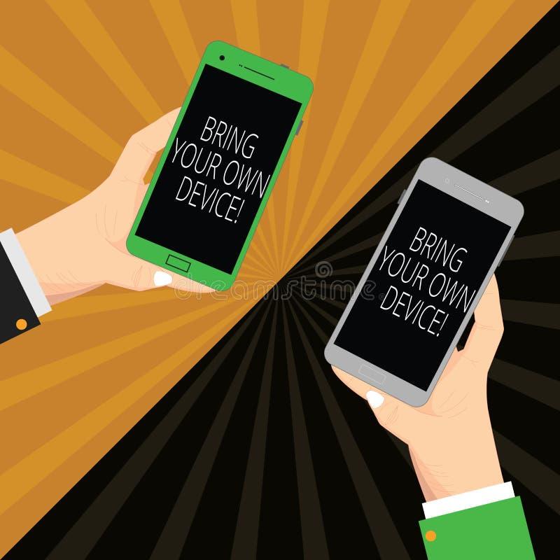 Texte d'écriture écrivant Bring Your Own Device Signification de concept venue avec le smartphone demonstratingal deux d'ordinate illustration stock