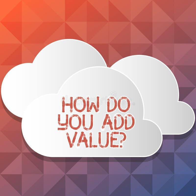 Texte d'écriture écrivant comment vous ajoutez Valuequestion La signification de concept apportent le progrès d'affaires pour con illustration libre de droits