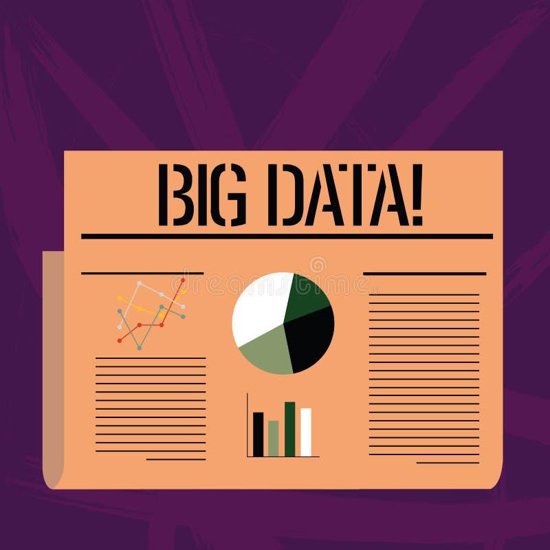 Texte d'écriture écrivant de grandes données Concept signifiant les ensembles extrêmement grands qui peuvent être analysés pour i illustration de vecteur