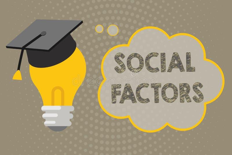 Texte d'écriture écrivant des facteurs sociaux Choses de signification de concept qui influence des différences de culture de mod images libres de droits