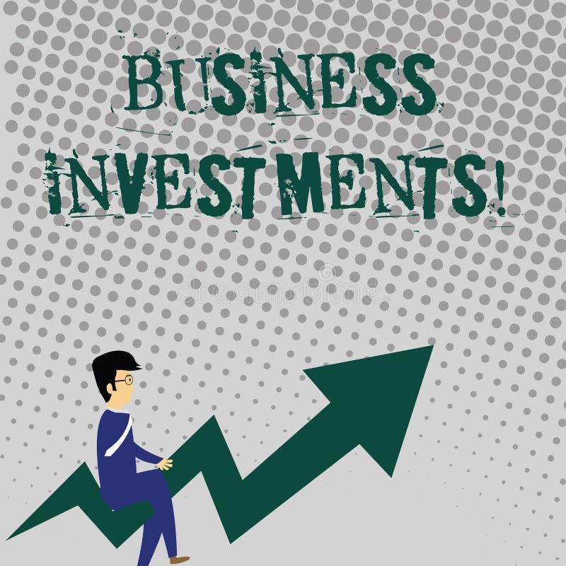 Texte d'écriture écrivant des investissements productifs Acte de signification de concept d'argent ou de capital de engagement  illustration de vecteur