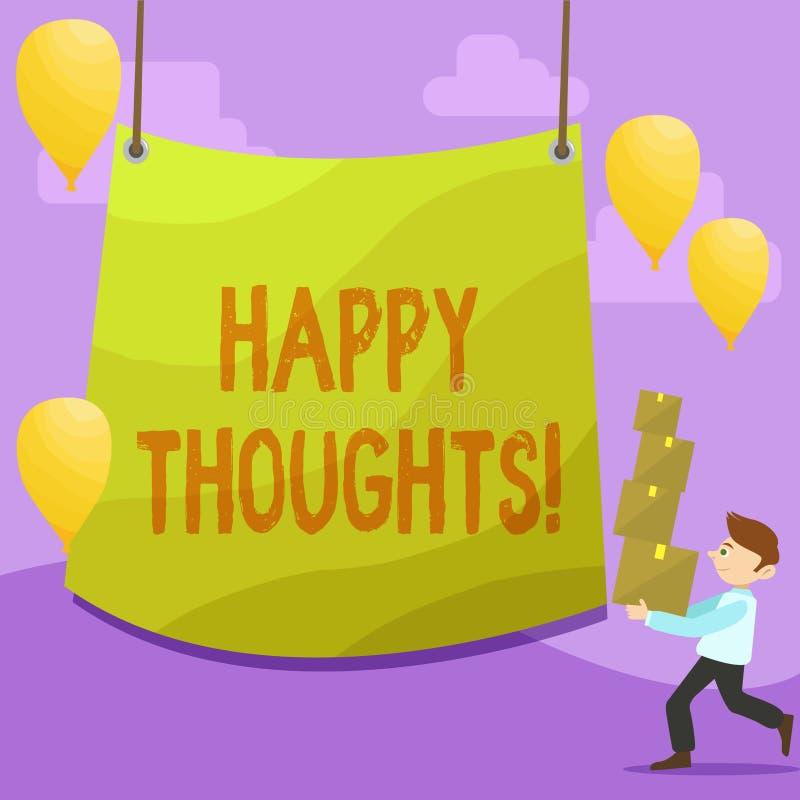 Texte d'écriture écrivant des pensées heureuses Opinion d'idée de signification de concept bonne produite par l'homme d'espri illustration libre de droits