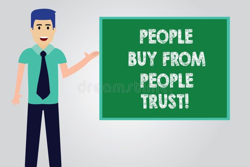 Texte d'écriture écrivant des personnes pour acheter des personnes elles font confiance au concept signifiant l'homme de construc illustration libre de droits