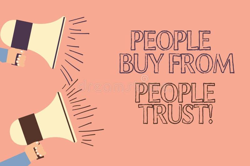 Texte d'écriture écrivant des personnes pour acheter des personnes elles font confiance au concept signifiant la confiance et la  illustration stock