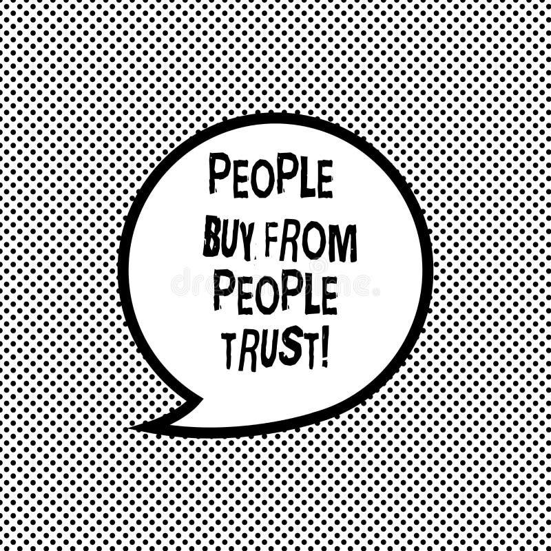 Texte d'écriture écrivant des personnes pour acheter des personnes elles font confiance au concept signifiant le discours de cons illustration libre de droits
