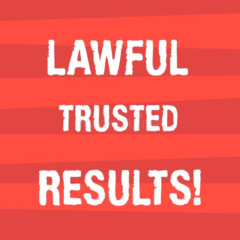Texte d'écriture écrivant des résultats de confiance légaux Affaire de fermeture de signification de concept sûre par les contrat illustration stock