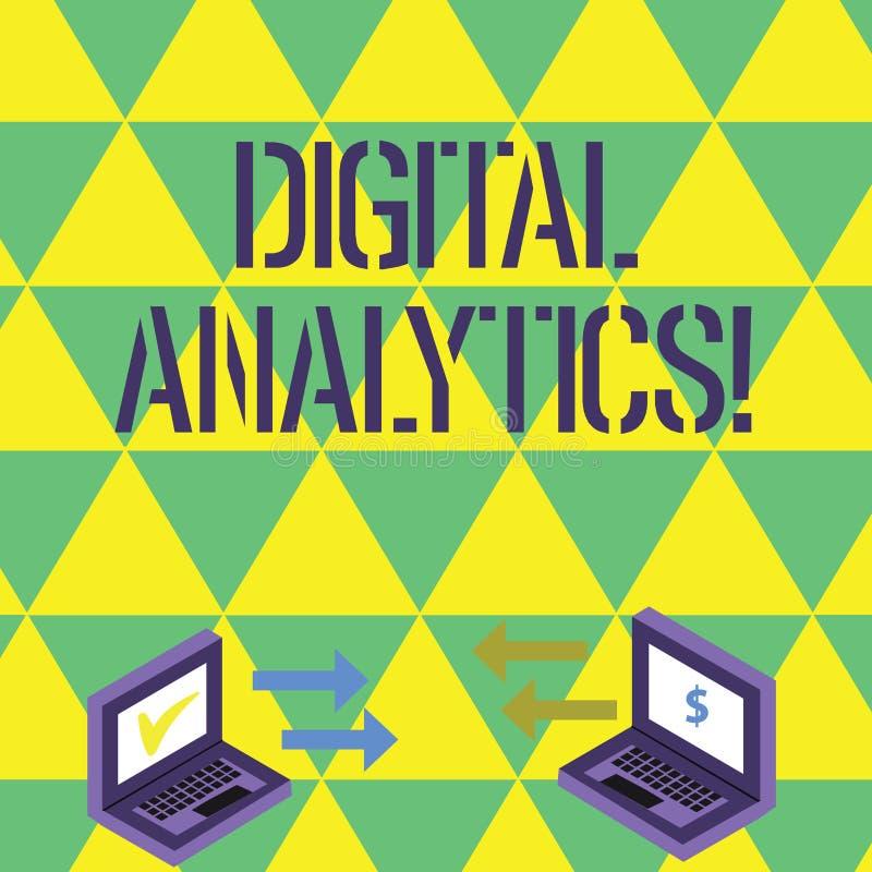 Texte d'écriture écrivant l'Analytics de Digital Concept signifiant l'analyse d'échange de données qualitatif et quantitatif illustration stock