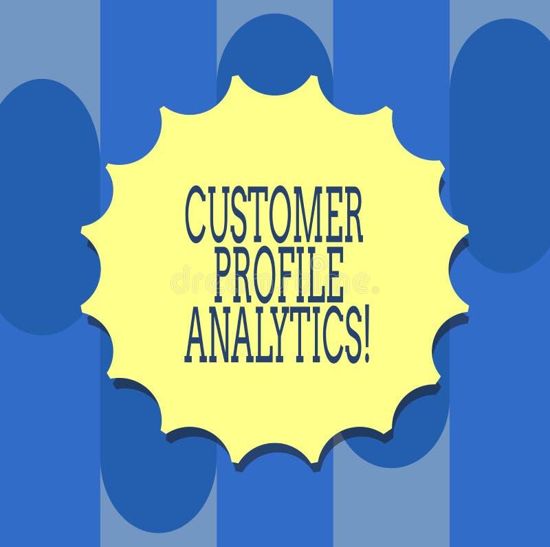 Texte d'écriture écrivant l'Analytics de profil de la clientèle Profil de la clientèle de signification de concept ou blanc d'ana illustration de vecteur