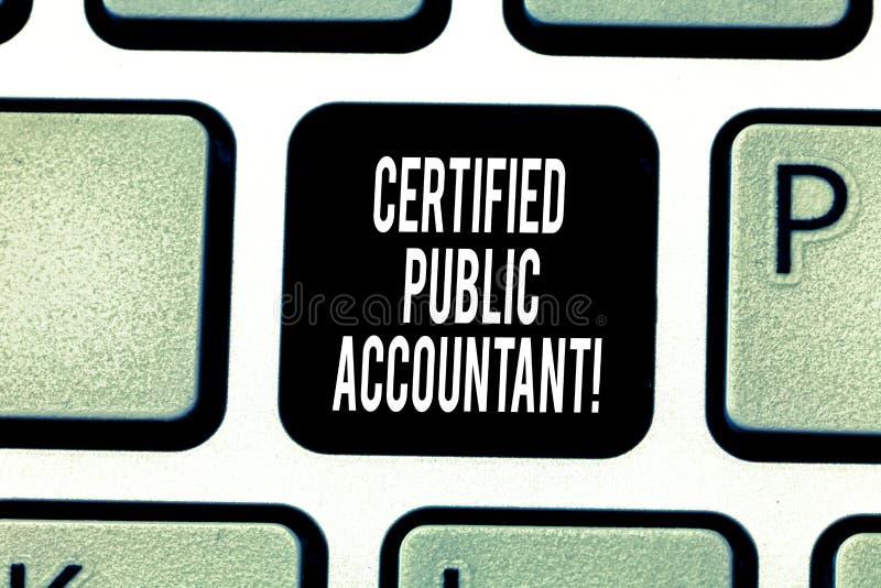 Texte d'écriture écrivant l'expert-comptable certifié Organisme professionnel accrédité par signification de concept des comptabl image stock