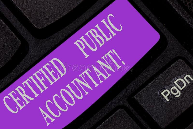 Texte d'écriture écrivant l'expert-comptable certifié Organisme professionnel accrédité par signification de concept des comptabl images libres de droits