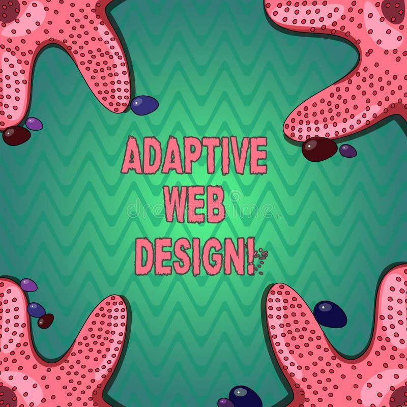 Texte d'écriture écrivant la conception web adaptative Le concept signifiant des multiples versions d'une page Web pour adapter l illustration de vecteur