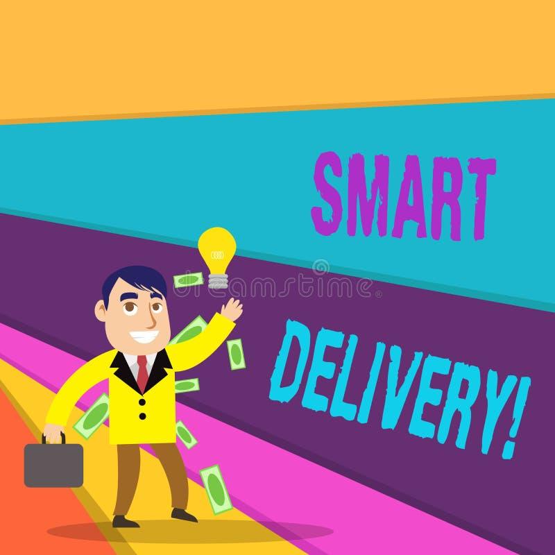 Texte d'écriture écrivant la livraison futée Concept signifiant la solution mobile pour livrer et transporter des marchandises pl illustration libre de droits