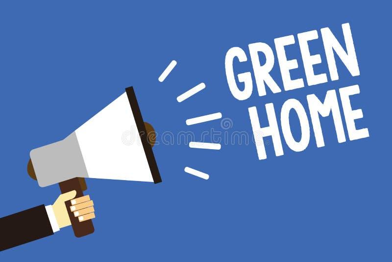 Texte d'écriture écrivant la maison verte Le concept signifiant un secteur a rempli d'usines et d'arbres où vous pouvez détendre  illustration libre de droits