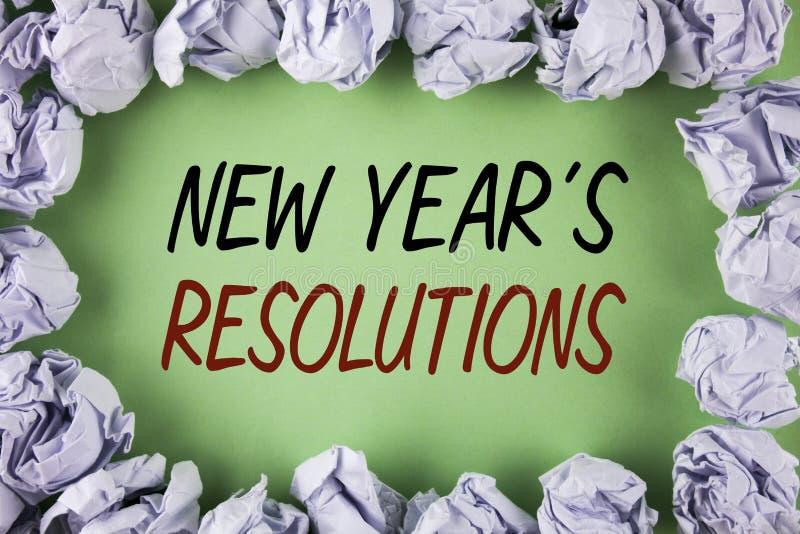 Texte d'écriture écrivant la nouvelle année \ 'résolutions de S Les objectifs de buts de signification de concept vise des décisi photos libres de droits