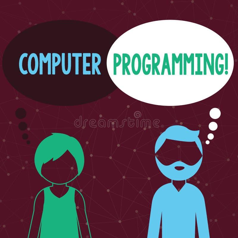 Texte d'écriture écrivant la programmation par ordinateur Processus de signification de concept qui instruit un ordinateur sur  illustration stock