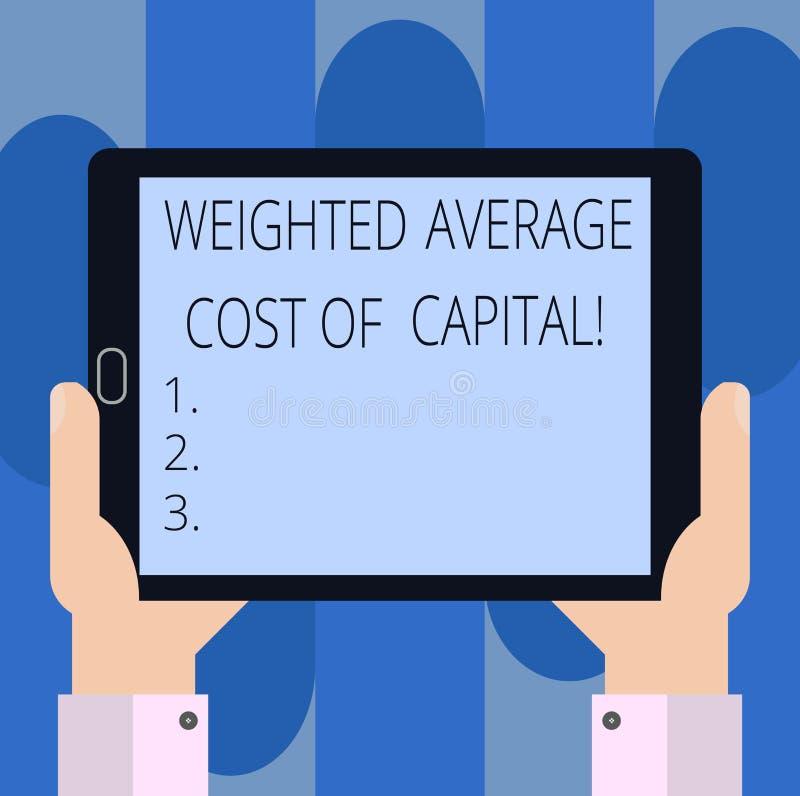 Texte d'écriture écrivant le coût du capital de moyenne pondérée Concept signifiant la main financière d'analyse de HU d'indicate photo stock