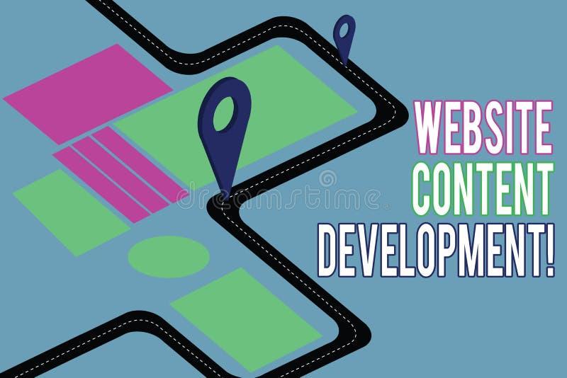 Texte d'écriture écrivant le développement de contenu de site Web Processus de signification de concept de publier l'information  illustration stock