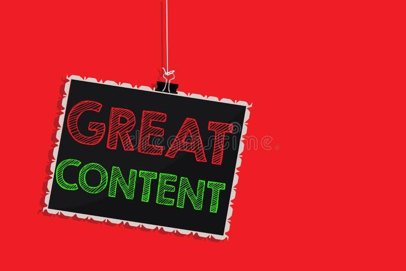 Texte d'écriture écrivant le grand contenu Concept signifiant l'originalité applicable lisible de motivation de satisfaction illustration libre de droits